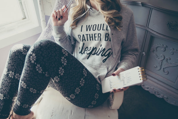 Rather Be Sleeping Hoodie -Light Heather Gray