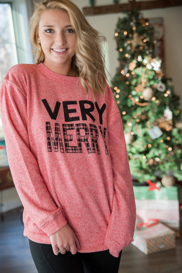 So Soft Very Merry Sweater - Red - BAD HABIT BOUTIQUE
