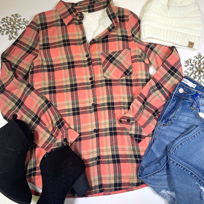 Sherpa Lining Plaid Button Up -Final Sale, CLOTHING, E.Luna, BAD HABIT BOUTIQUE
