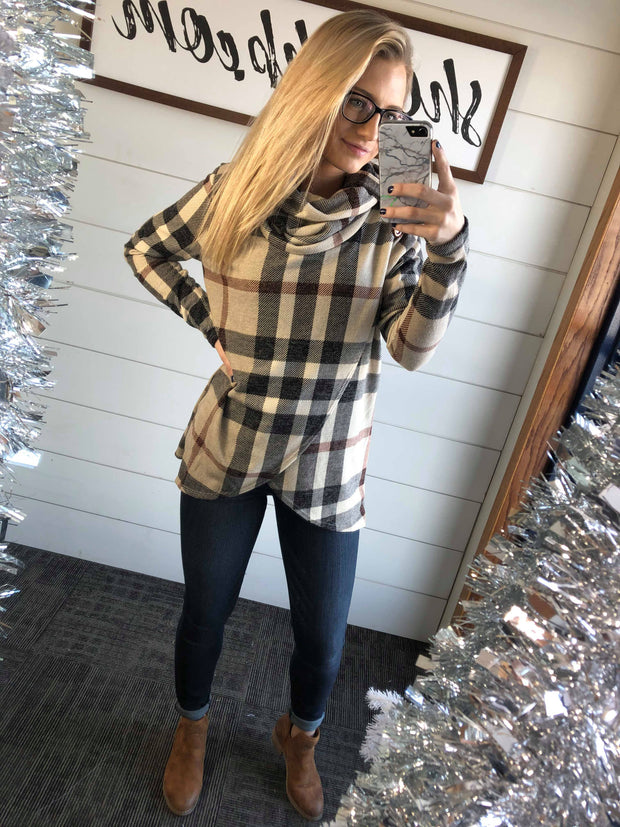 burberry plaid top, cowl neck, cross body long sleeve, long sleeve, plaid long sleeve, brrr-berry plaid top