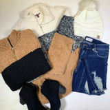 3/4 Zip Sherpa Colorblock Sweater - Final Sale, CLOTHING, SILVERGATE, BAD HABIT BOUTIQUE
