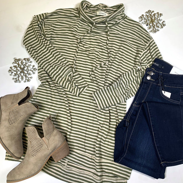 striped drop sleeve cowl neck long sleeve high low top