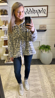 Cheetah Half Zip Drawstring Sherpa Sweater