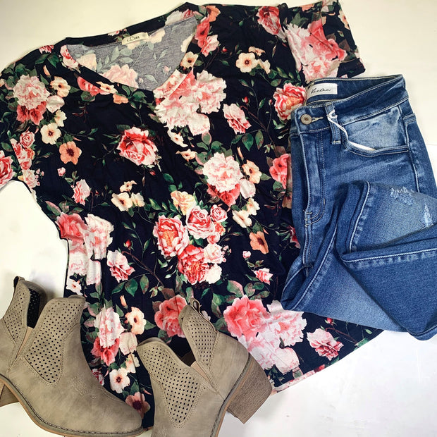 floral  black vneck short sleeve top