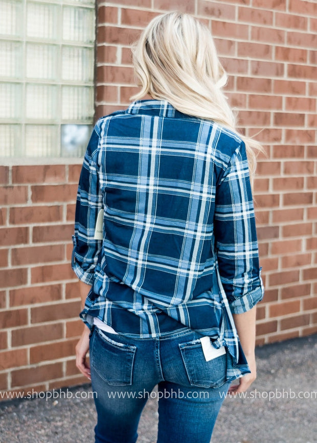Plaid Button Down | Navy
