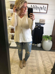 L/S Basic Vneck Top- Final Sale, CLOTHING, Cherish, BAD HABIT BOUTIQUE