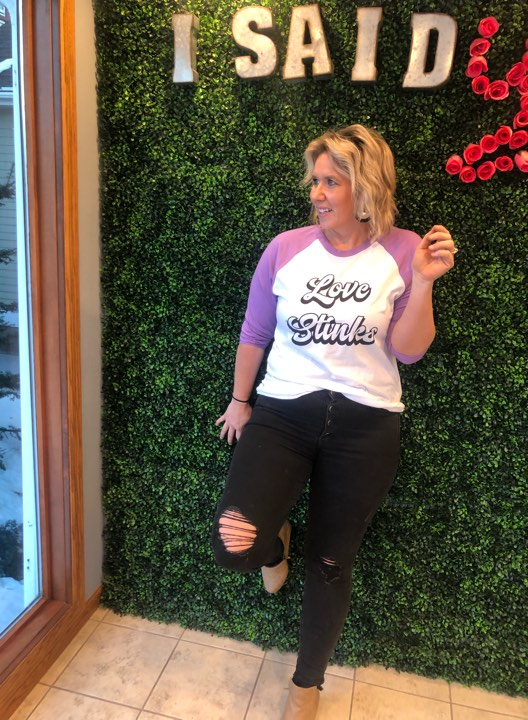 Love Stinks Baseball Sleeve Top, CLOTHING, BAD HABIT APPAREL, BAD HABIT BOUTIQUE
