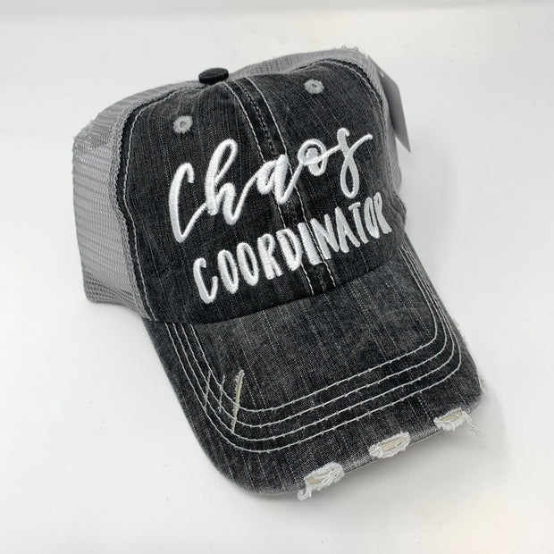 chaos coordinator distressed gray trucker hat