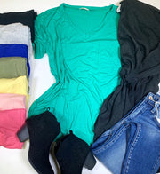 short sleeve vneck basic tee kelly green black heather gray royal olive sunray blush candy pink