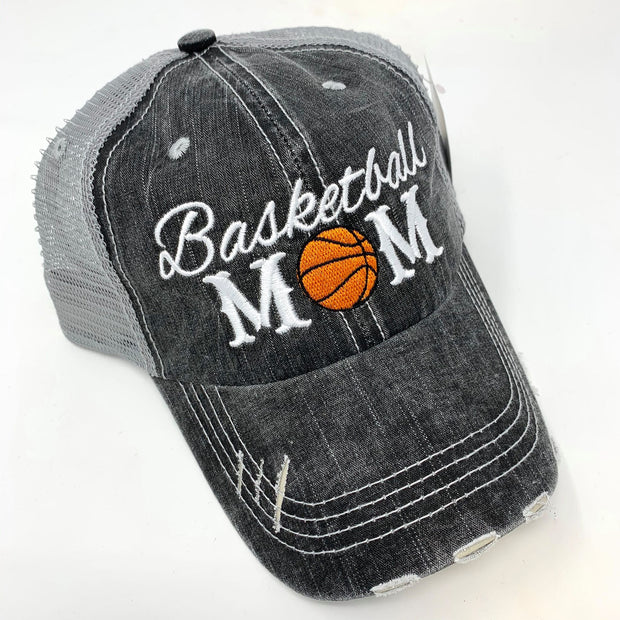 basketball mom basketball gray distressed trucker hat