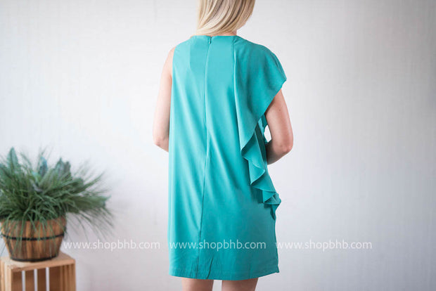 Waterfall Sleeveless Shift Dress | Teal