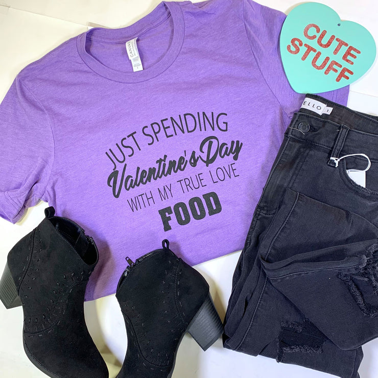 just spending valentines with my true love food short sleeve purple graphic tee tshirt