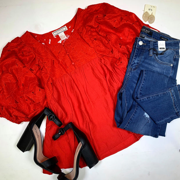 red button down babydoll lace dolman sleeves