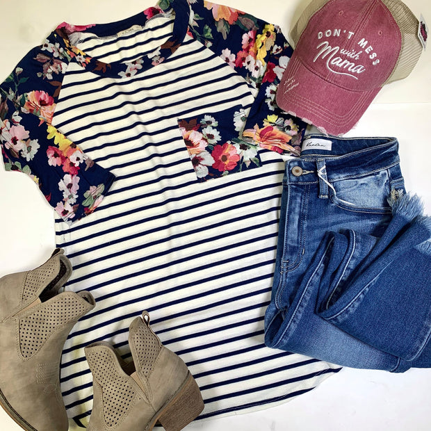 striped 3/4 sleeve navy floral raglan top