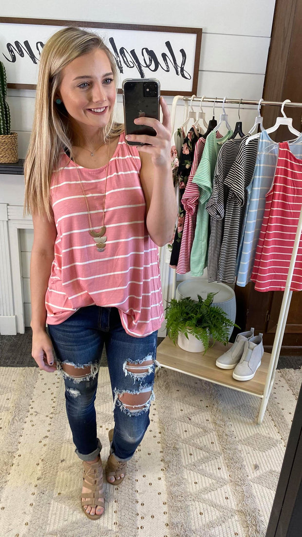 Striped Round Hem Tank Top