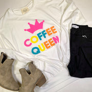coffee queen long sleeve kangaroo sweatshirt  ivory