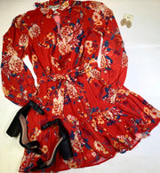 Dreamy Floral L/S Red Mini Dress