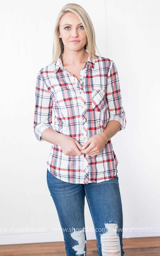 Button up Plaid Top | Ivory, SALE, vendor-unknown, badhabitboutique