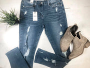 judy blue denim mid rise medium wash destroyed front and back skinny
