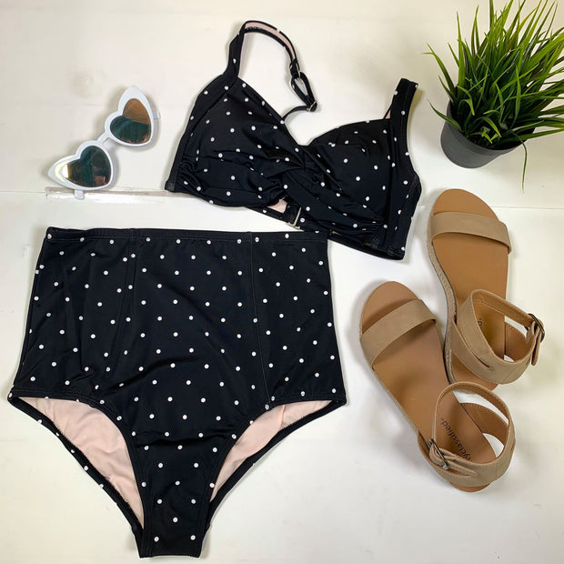 polka pot high waisted twisted bikini two piece women