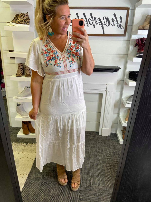 maxi ivory short sleeve embroidered dress women