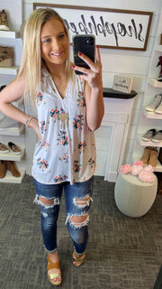 floral white halter v neck tank top blouse
