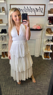 Boho Ruffle Dress - Ivory | FINAL SALE, CLOTHING, Dress Forum, BAD HABIT BOUTIQUE