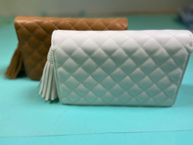 white camel quilted tassel removable chain clutch