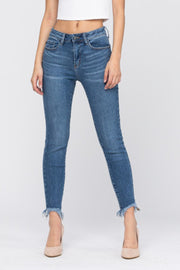High Waist Non-Distressed Shark Bite Skinny Jeans - Judy Blue, CLOTHING, JUDY BLUE, BAD HABIT BOUTIQUE