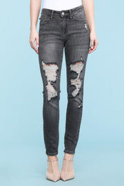 Mid Rise Distressed Faded Black Skinny- Judy Blue, CLOTHING, Judy Blue, BAD HABIT BOUTIQUE