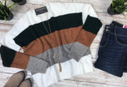 This color block knitted sweater is perfect for this time of year.
