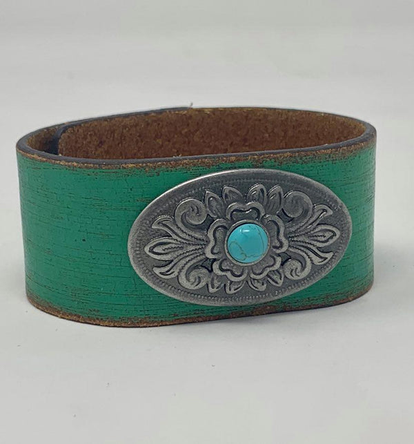 Flower Turquoise Distressed Leather Bracelet, JEWERLY, Most Wanted USA, BAD HABIT BOUTIQUE