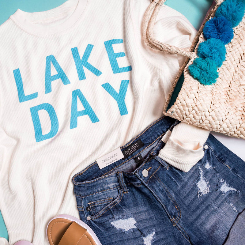 Lake Day Ivory Ribbed Sweater, GRAPHICS, BAD HABIT APPAREL, BAD HABIT BOUTIQUE