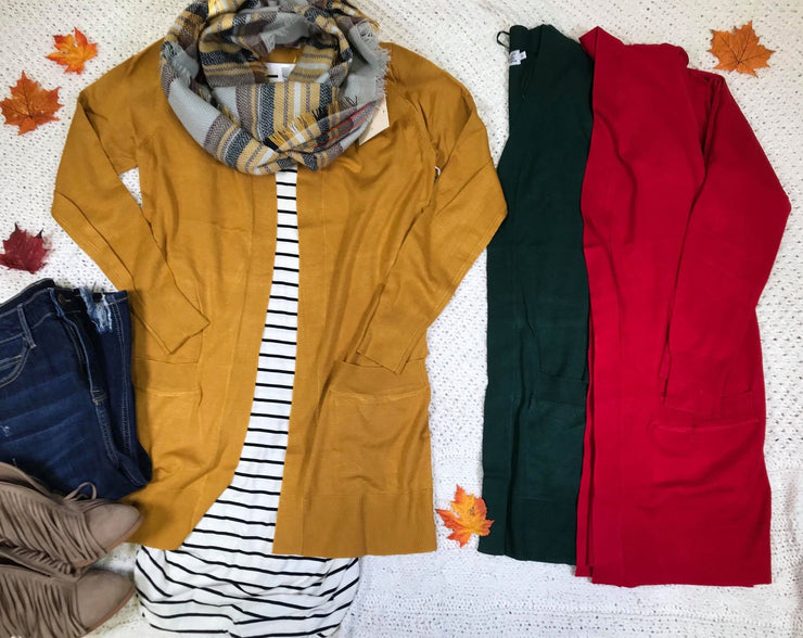 mid length boyfriend cardigan in red olive mustard