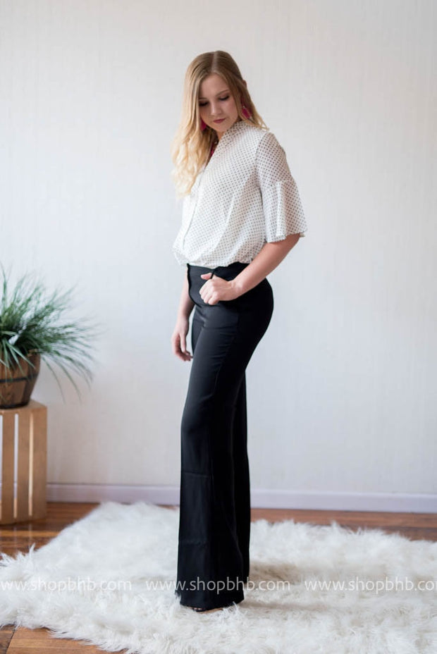Wide Leg Slacks | Black