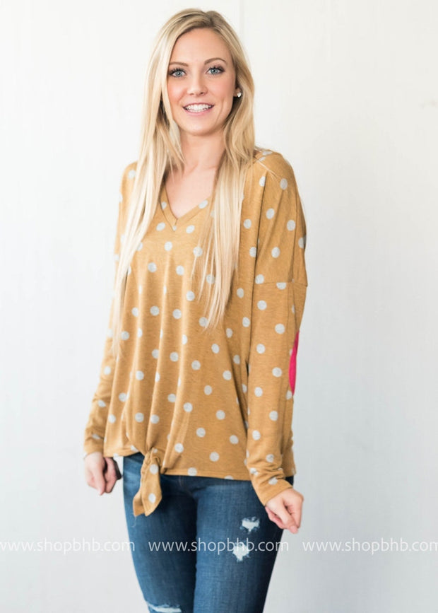 French Terry Polka Dot Top w/ Tie Front, TOPS, Bibi, badhabitboutique