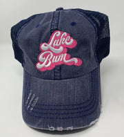 lake bum patch navy trucker hat