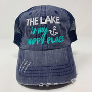 the lake is my happy place navy trucker hat