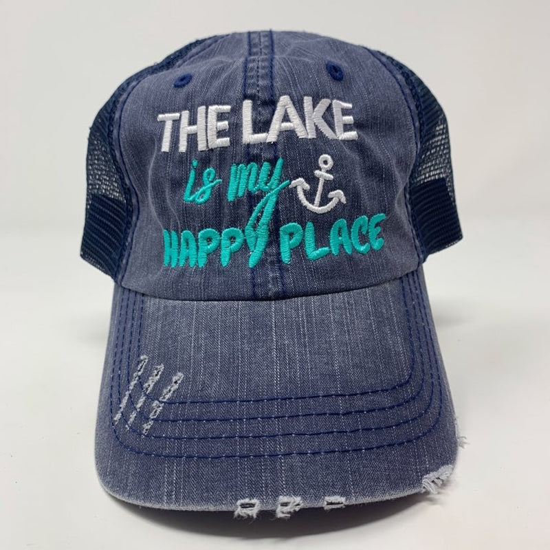 The Lake is My Happy Place Trucker Hat, ACCESSORIES, BAD HABIT APPAREL, BAD HABIT BOUTIQUE