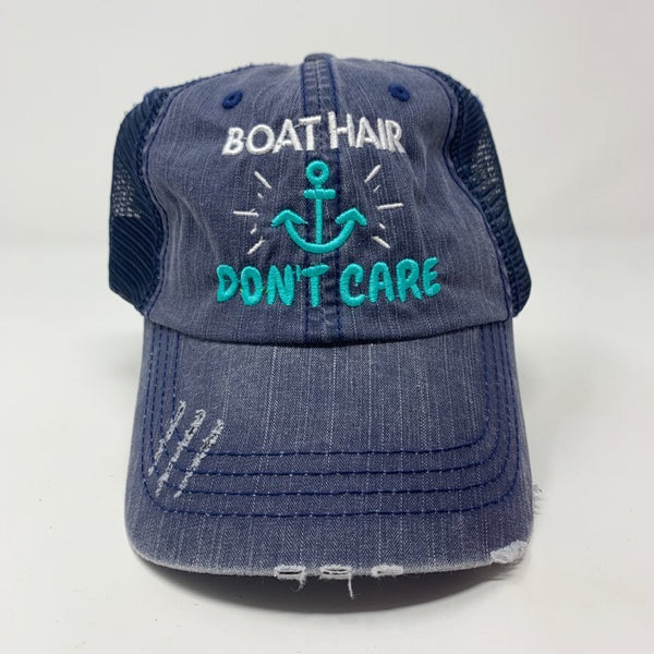 Boat Hair Don't Care Navy Trucker Hat, ACCESSORIES, BAD HABIT APPAREL, BAD HABIT BOUTIQUE