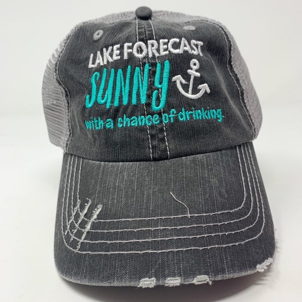 lake forecast sunny with a chance of drinking blue writing anchor gray trucker hat
