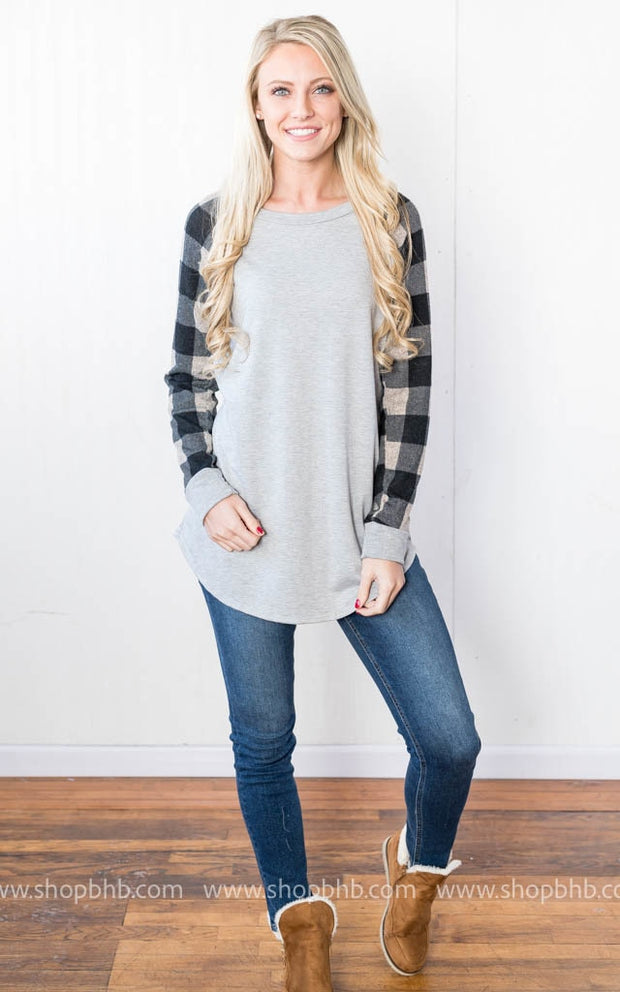 French Terry with Plaid | Gray, SALE, vendor-unknown, badhabitboutique