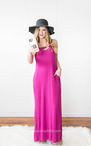 Maxi Dress Keyhole orchid