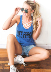Lake Person Tank Top - Blue, CLOTHING, BAD HABIT APPAREL, BAD HABIT BOUTIQUE
