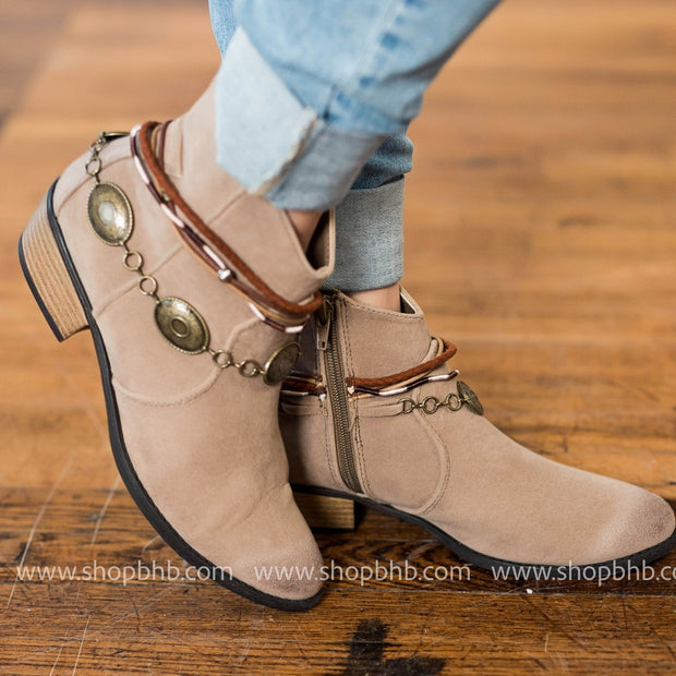 Embellished Bootie | Taupe, SHOES, ACCESSORIES, badhabitboutique