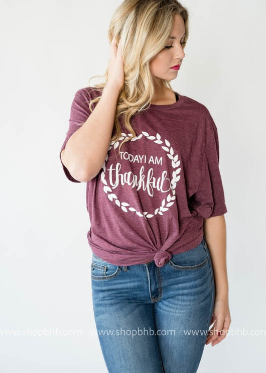 Today I am Thankful  | Bad Habit Boutique fall graphic tshirt