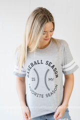 Baseball Season is my Favorite Season-white stripes on sleeve, CLOTHING, BAD HABIT APPAREL, BAD HABIT BOUTIQUE
