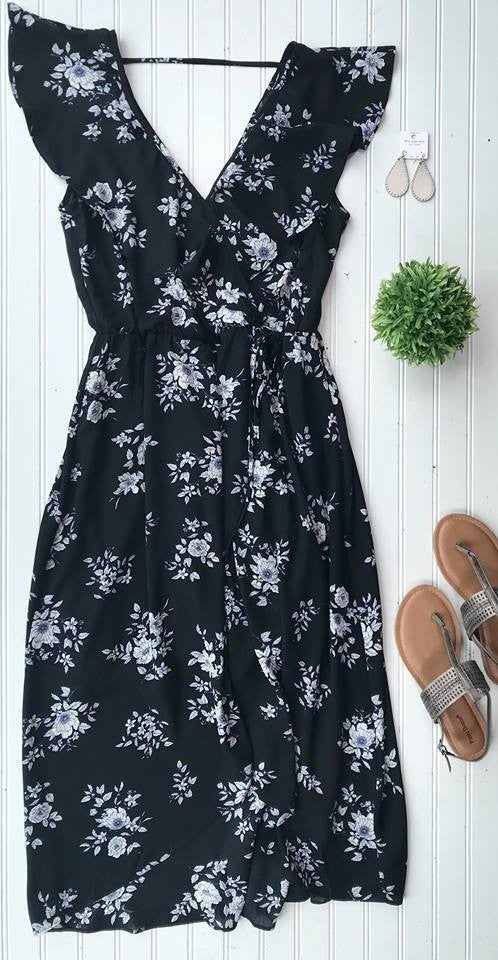 Curvy Girl Wrap Floral Dress | Black, SALE, Soprano, badhabitboutique