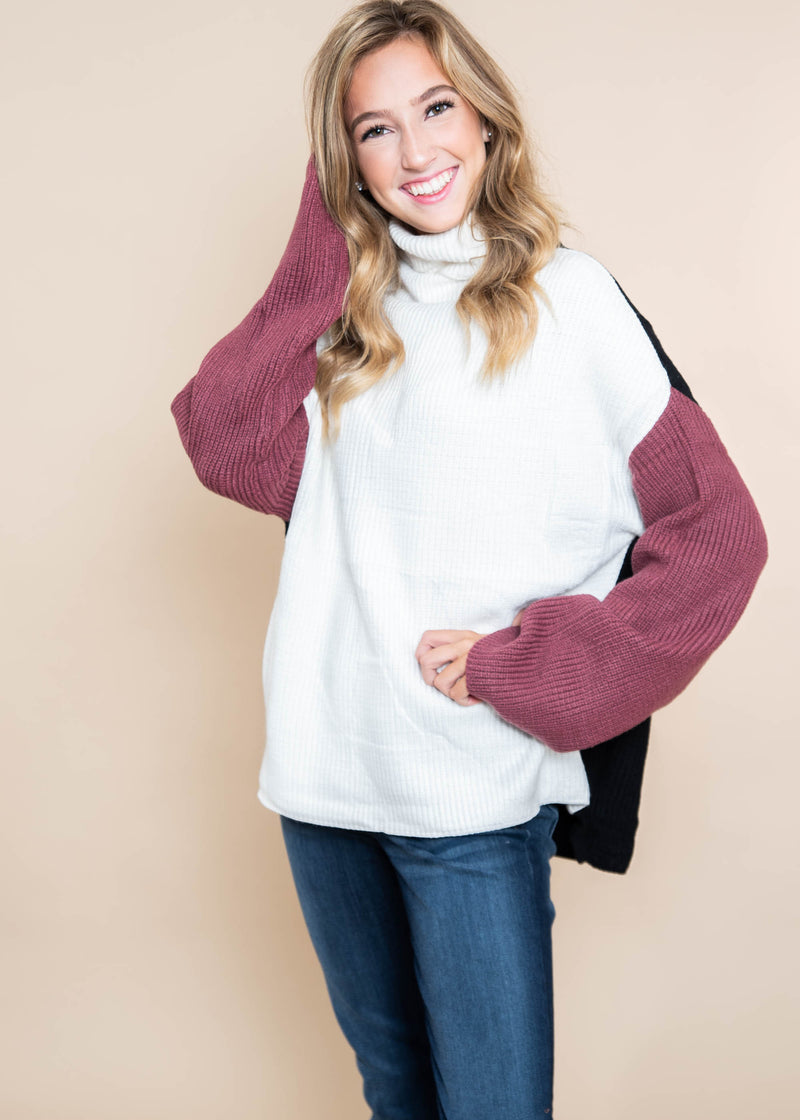 Respectfully Chic Color Block Sweater | FINAL SALE, CLOTHING, MIRACLE, BAD HABIT BOUTIQUE
