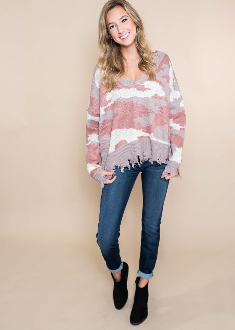 Perfect Salmon Mix Distressed Sweater - Miracle, CLOTHING, MIRACLE, BAD HABIT BOUTIQUE